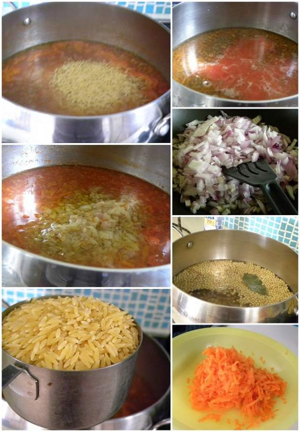 Collage Lentils with orzo and carrot image