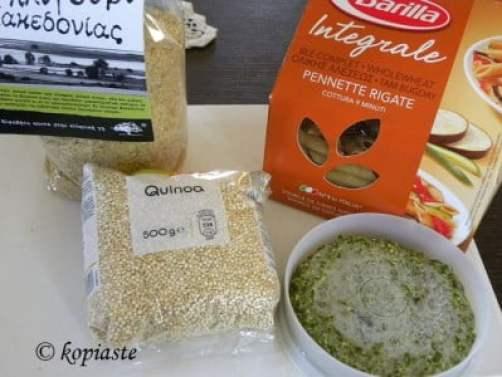 Bulgur pasta and quinoa