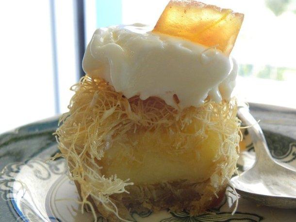 Kataifi nests showing galaktoboureko cream image