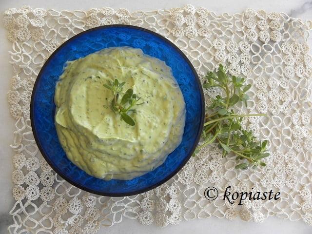 New Avocado and Purslane Tzatziki