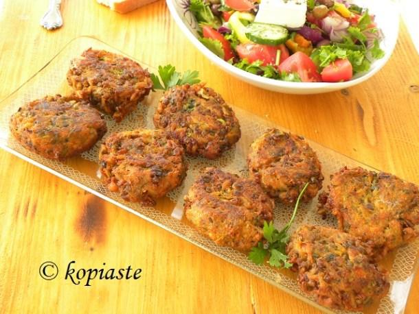 Veggie burgers with Greek Salad