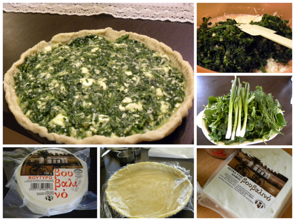 collage spinach and mushroom tart