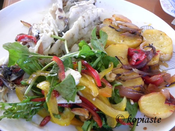 Fish milokopi shi drum and rocket and peppers salad