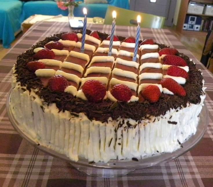Birthday Cake with Strawberry Cream Cheese and Chocolate Glaze