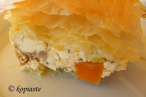 Kotopita chicken pie close up
