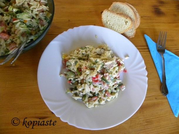 Orzo Kritharaki Salata with baked eggplants and tuna