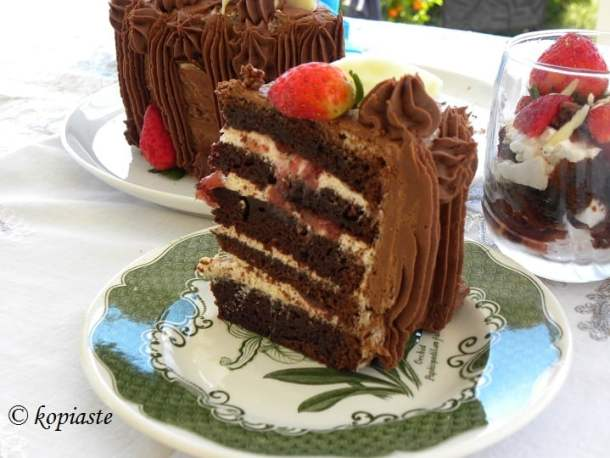 Five layers of chocolate cake