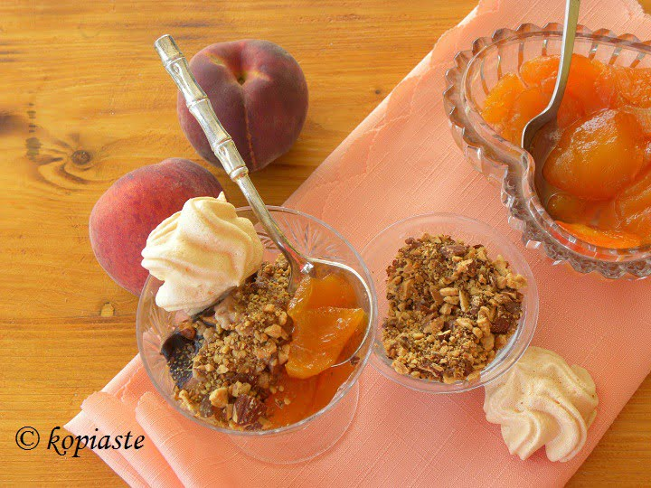 peach compote served with ice cream