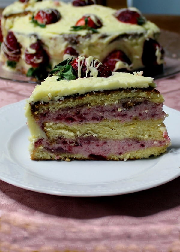 Elia's strawberry white chocolate cake