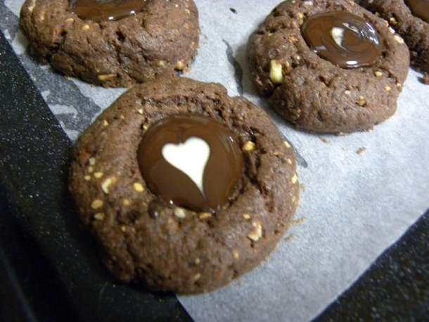 chocolate thumbprint cookies with heart image