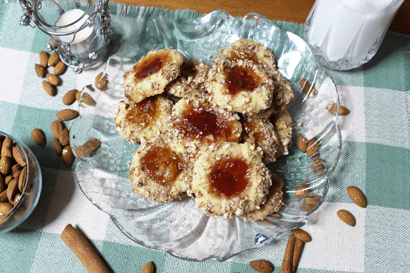 Almond Cinnamon Thumbprint Cookies