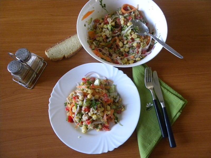 Greek Chickpea Salad with Quinoa and Tahini Sauce