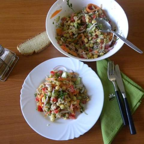 Greek Chickpea Salad with Quinoa and Tahini Sauce