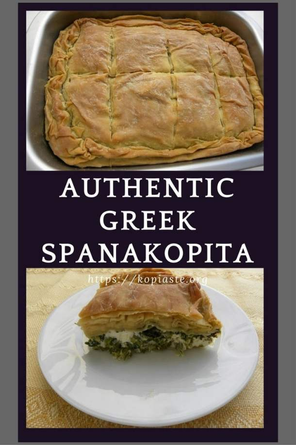collage spanakopita spinach pie image