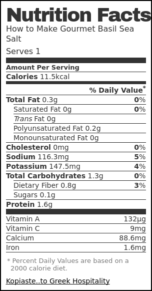 Nutrition label for How to Make Gourmet Sea Salt