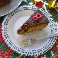 Chocolate Almond Raspberry Coffee Cake (Vassilopita)