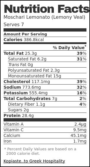 Nutrition label for Moschari Lemonato (Lemony Veal)