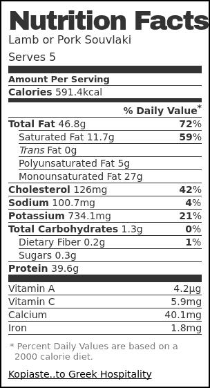 Nutrition label for Lamb or Pork Souvlaki