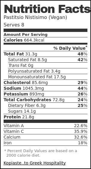 Nutrition label for Pastitsio Nistisimo (Vegan)