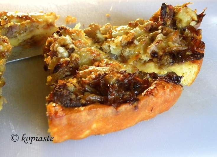 Sausage and Onion Tart with easy Corn Meal Crust