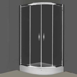tus kabina, zatamnjeno staklo, srebrni profili
