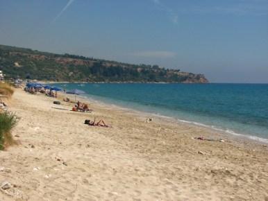 Lourdas - a quiet beach where one can swim and enjoy excellent views of mount Ainos.