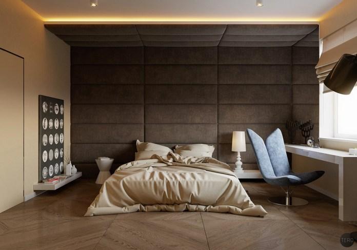 Desain kamar tidur dengan paduan dinding bantal