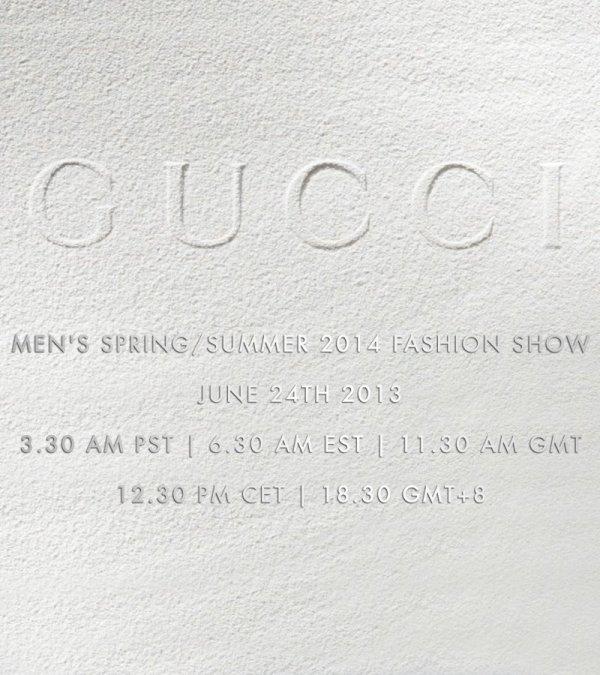 Gucci Men's Spring/Summer 2014 Fashion Show Livestream