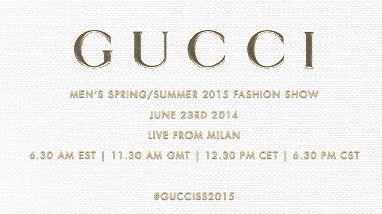 Gucci Men's Spring/Summer 2015 Fashion Show Livestream