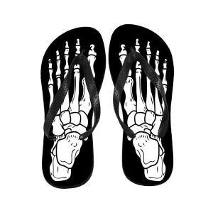 Tongs Noires Imprimées Skeleton Feet Blanc