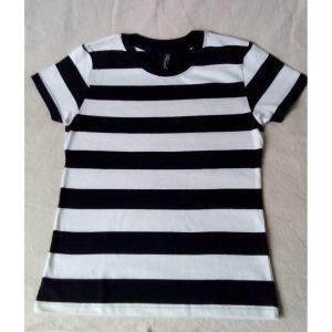 T-shirt Rayé Blanc et Noir 100% Coton