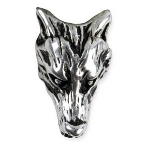 Bijou de barbe et cheveux Tête de Loup en Bronze Argenté