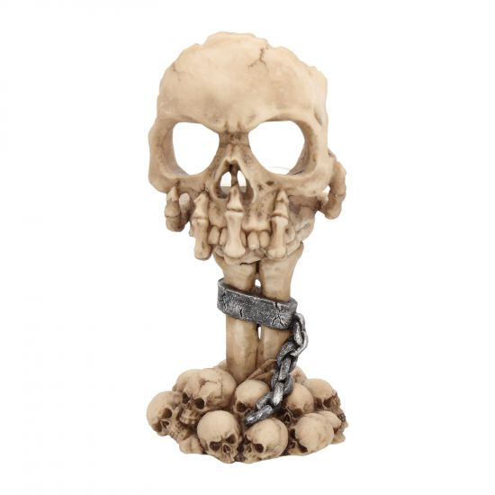 Bougeoir Crâne posé sur Main Squelette
