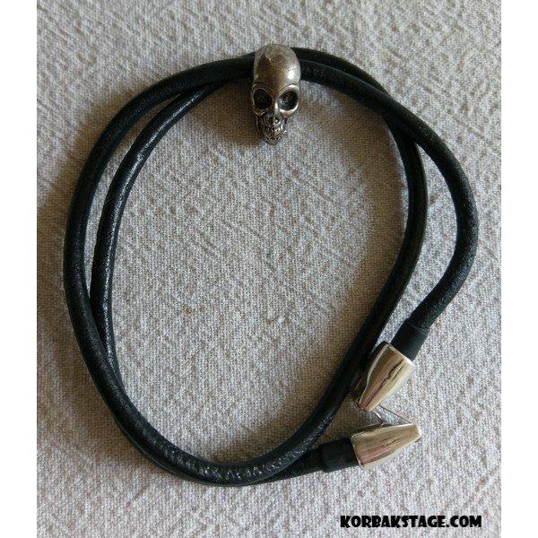 Bracelet Cuir Skull Artisanal KorbaKStage