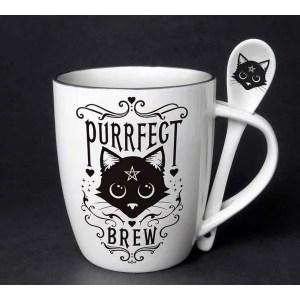 Mug à cuuillère purrfect brew en porcelaine