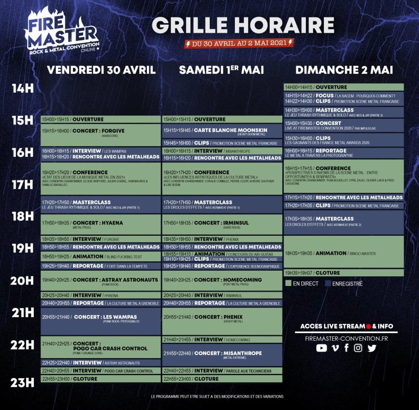 GRILLE HORAIRE Convention FireMaster Online