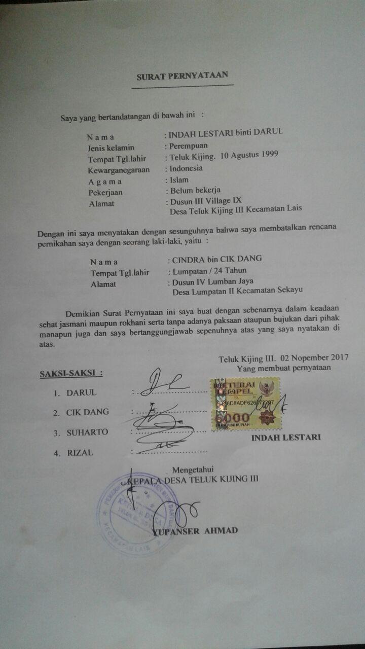 Inisiatif Sendiri, Indah Buat Surat Bermaterai Pembatalan ...