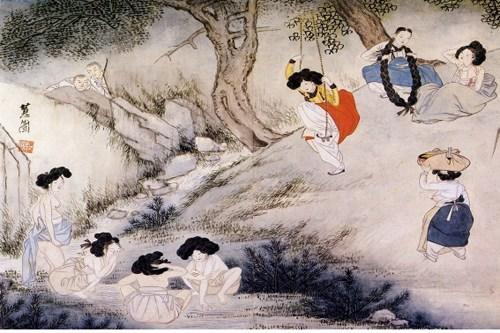 ▲ 신윤복의 '단오풍정'  (This is a picture of a traditional Korean holiday, Dano by Sin Yunbok.)