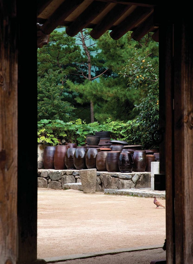 A glimpse into the traditional home, with its jangdokdae filled with onggi pottery urns.