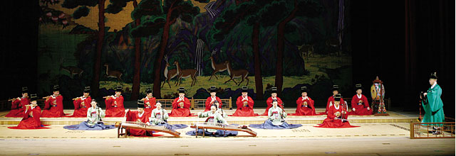Ensemble of national traditional music performing Sujecheon (Long Life as Eternal as the Heavens)