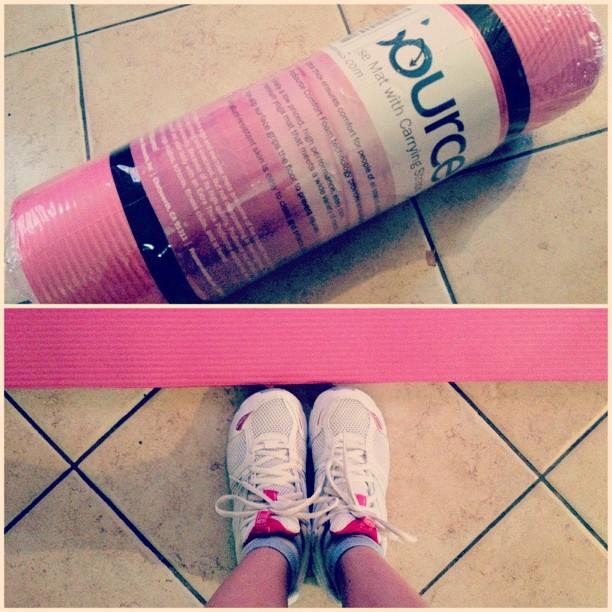 workout shoes mat