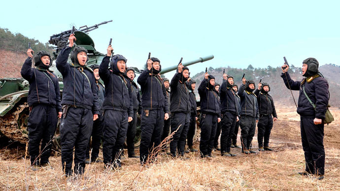 North Korean soldiers attend military drills in this picture released by the North's official KCNA news. (Yonhap/KCNA)