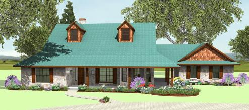 Wrap Around Porch S2635B   Texas House Plans   Over 700 Proven Home     Wrap Around Porch S2635B  Front Elevation  Front Elevation
