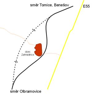 Mapka narovnané tratě