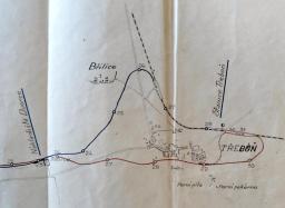 Obr.2.3 - Detailní plán různých variant z Budějovic do Třeboně (1922)