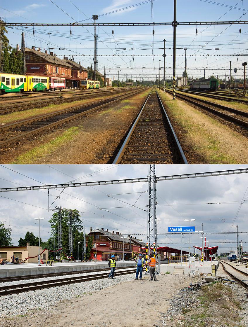 Pohled z osmé koleje 7.7.2013 a 26.6.2014