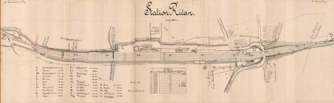 Říčany, plán polohy v r. 1916