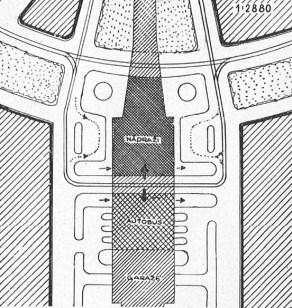 Schema dopravy nového osobního nádraží s autobusy, městské regulační oddělení, 1943