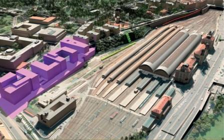 Pohled na žst. Praha hl.n. od Seifertovy ulice. Churchill Square je zvýrazněno fialově (vizualizace: SŽDC, s.o.)