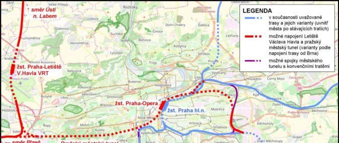 Napojení Letiště VH a pražský městský tune-nahled